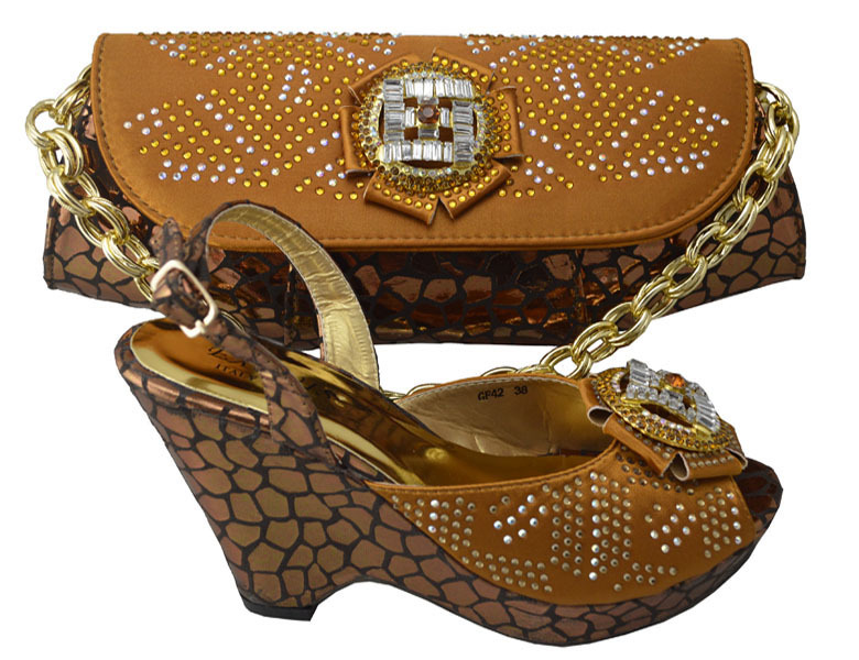 ФОТО brown! Free shipping african shoes and bags set for wedding, ladies pumps high heel with toe bag HP1-38