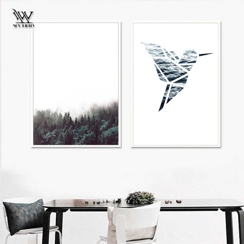 Black And White Forest Posters And Prints Kitchen Wall Art Canvas Painting Green Palm Wall Pictures For Living Room Decoracion