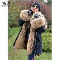 Tatyana Furclub Real Fur Parka Coat For Women Winter Jacket With Raccoon Fur Hood Harajuku Black Fur Parka Coat Slim Warm Tops