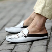 купить Men Casual Shoes 2019 Fashion Men Shoes Genuine Leather Men Loafers Moccasins Slip On Men's Flats Loafers Male Shoes дешево