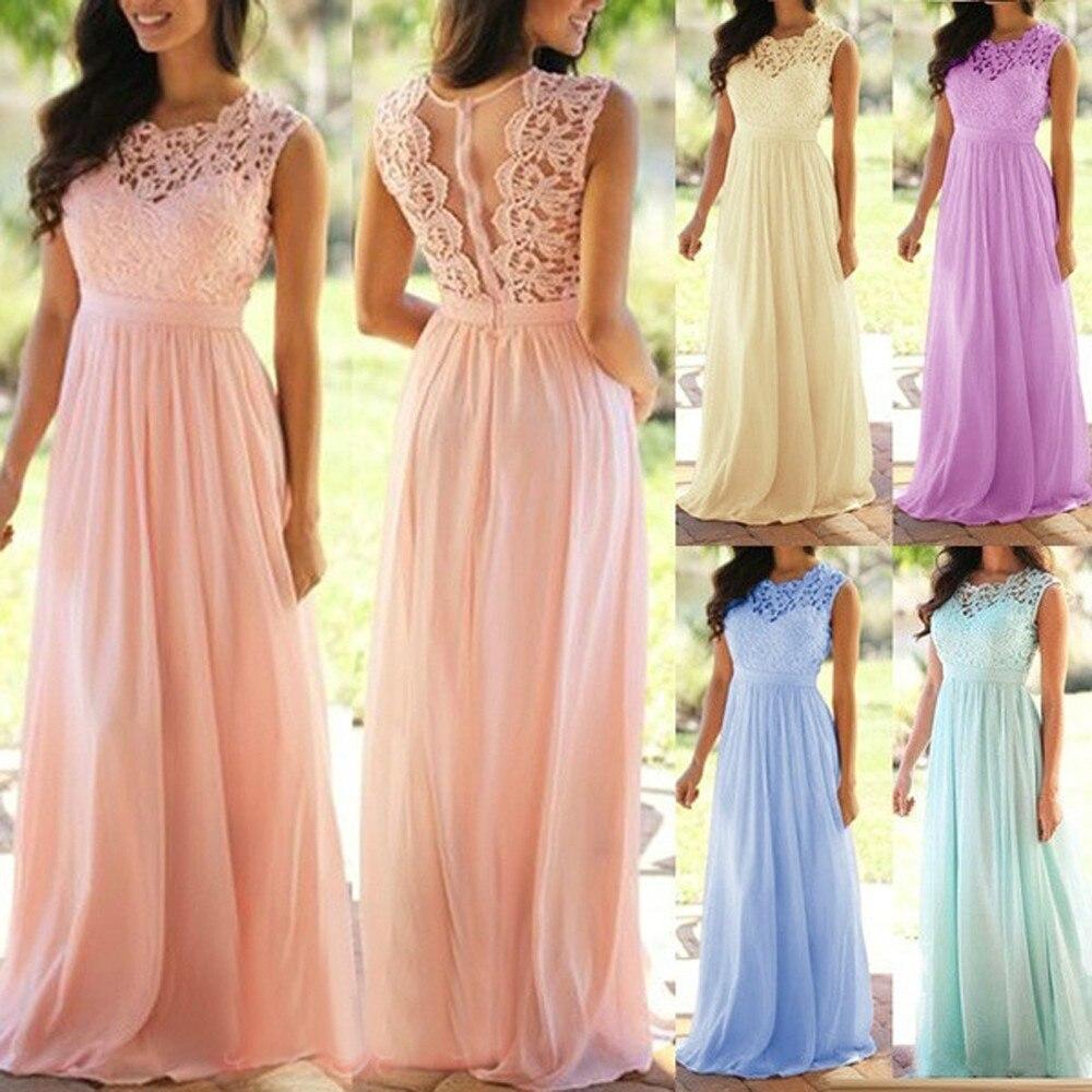 2019 sommer mode frauen spitze applique elegante kleid korallen bridesm.  aid kleider hochzeit gast kleid vestidos