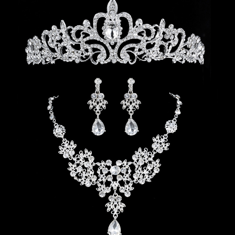 DIEZI New Bridal Jewelry Silver Crown Necklace And Earring Set Tiara Rhinestone Wedding Bridal Crystal Jewelry Sets Accessories