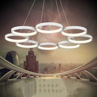Modern Led Pendant Lights Fashion Light Fixture For Dinning Room Livingroom Remote Ring Circles