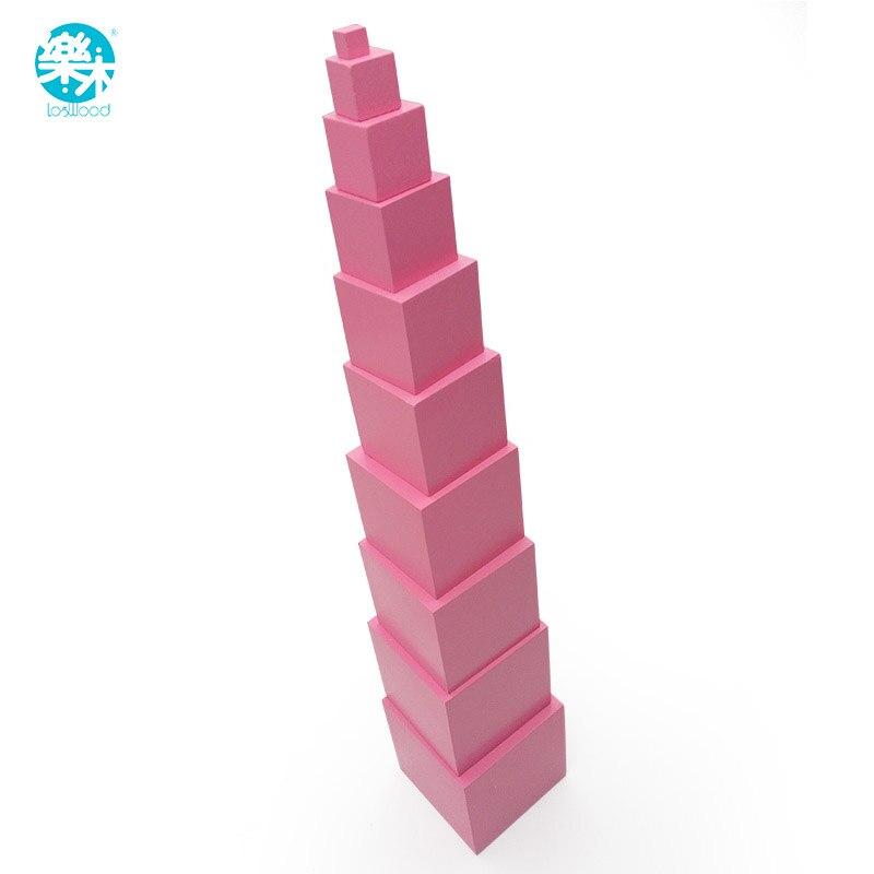 rosa torre de madeira montessori brinquedo educacional do bebe bloco de construcao profissional jogo editionteaching toys