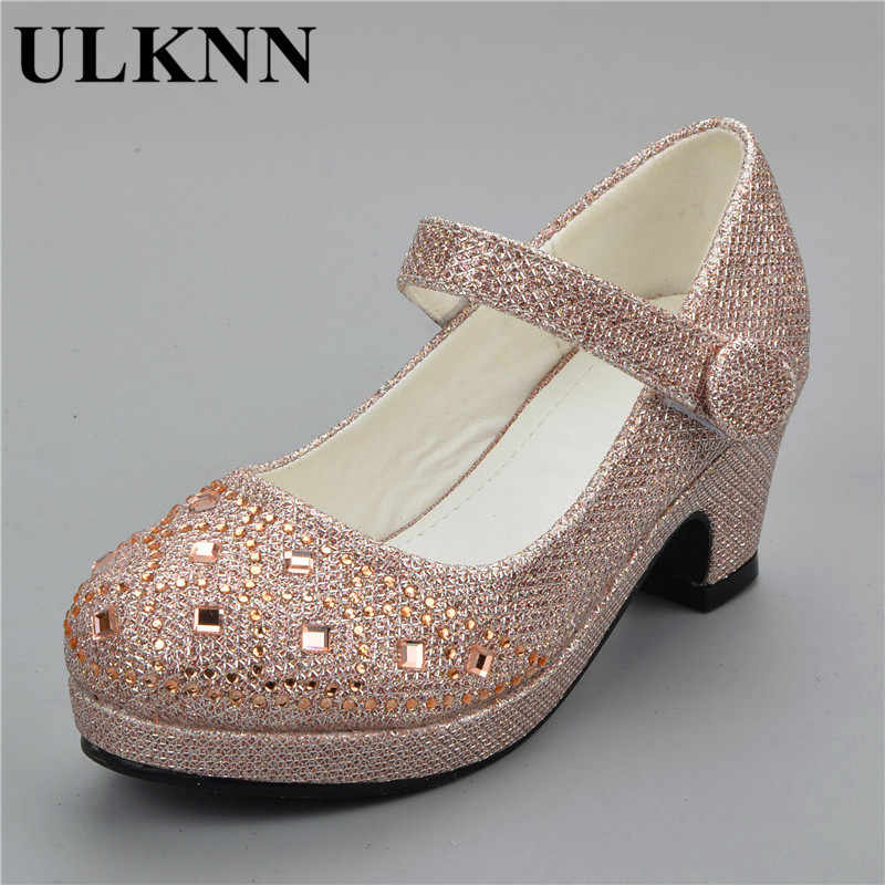 75104d29aad ... ULKNN 2019 Sandals for girls Children Rhineston High Heel Wedding Party  shoes Baby Princess shoe pink ...