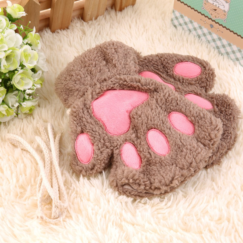 Cute Cat Claw Paw Plush Mittens Warm Soft Plush Short Fingerless Fluffy Bear Cat Gloves Costume Half Finger Gloves