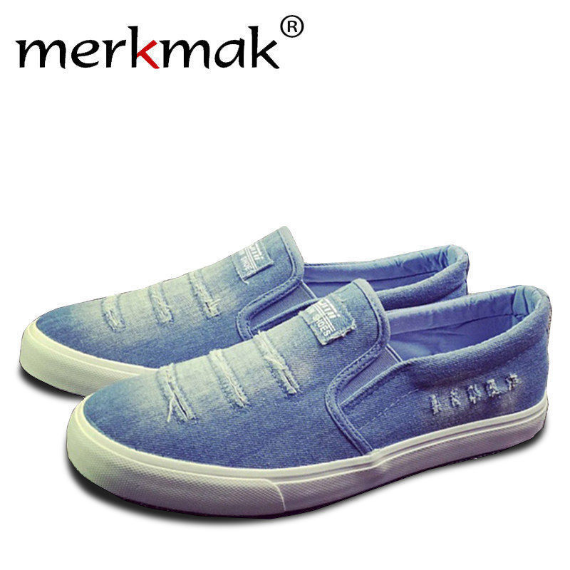 Merkmak Canvas Men Flats Shoes Casual Handmade Comforatable Loafer Man Fashion Student Slip On Soft Footwear Shoes Drop Shipping