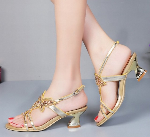 new 2016 Rhinestone Butterfly Sandals Thick Heels Summer Shoes Woman Cut Out High Heel Sexy Women Sandal Sweet Gladiator Sandals