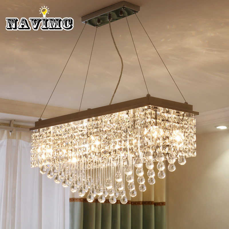 Modern Minimalist Restaurant k9 Crystal chandeliers for Dining Room Rectangle Pendant Lamp Bedroom Living Room Pub 110 240v