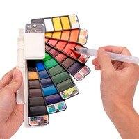 Улучшенный 18/25/33/42 Цвет сплошной набор акварельных красок складной краска на водной основе кисточек для рисования количество креативная Пи...