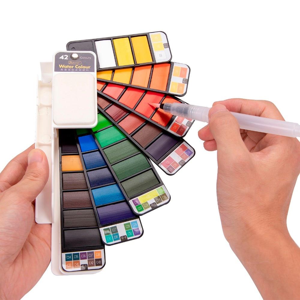 Превосходный однотонный набор акварельных красок 18/25/33/42 цветов, набор складных красок, кисть для акварели, креативный пигмент для рисовани...