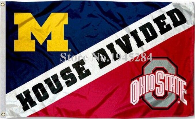 Michigan vs Ohio State Maison Divisée Drapeau Bannière Nouveau 3x5FT 90x150 CM Polyester NCAA 9274, livraison gratuite