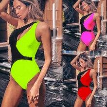 Women One-piece One Shoulder Swimsuit Swimwear New Summer Hot Beachwear Swim Suit Color Block Swimsuits Bathing Suits