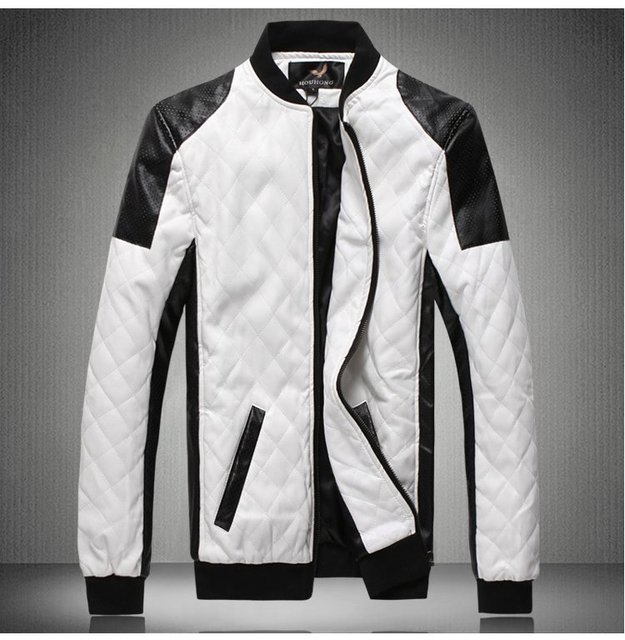 Black and white stitching of the influx of men Korean hit color 2012 Winter new PU leather fur leisure jacket FLM027