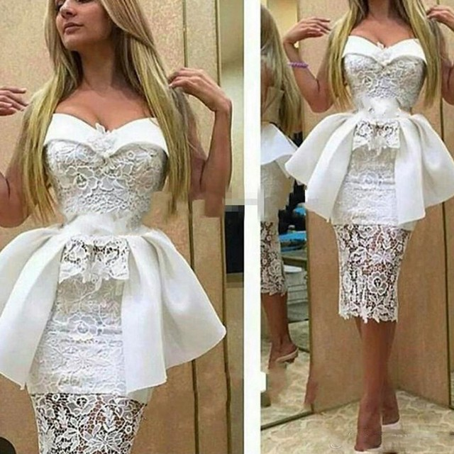 Custom Made Evening Dresses Pleats Peplum Robe De Soiree Appliques