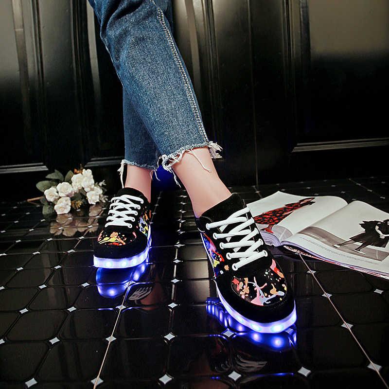 7 ipupasที่ดีPUรองเท้าผ้าใบส่องสว่างUSBสีขาวเด็กledรองเท้าLight Up U Nisexเด็กเด็กสาวเทนนิสLed Femininoเรืองแสงรองเท้าผ้าใบ
