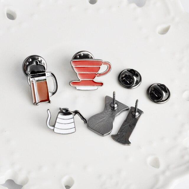 OMG! Lèvre glace boisson café américain AeroPress Chemex filtre tasse broche Denim veste Pin chemise Badge mode cadeau pour ami