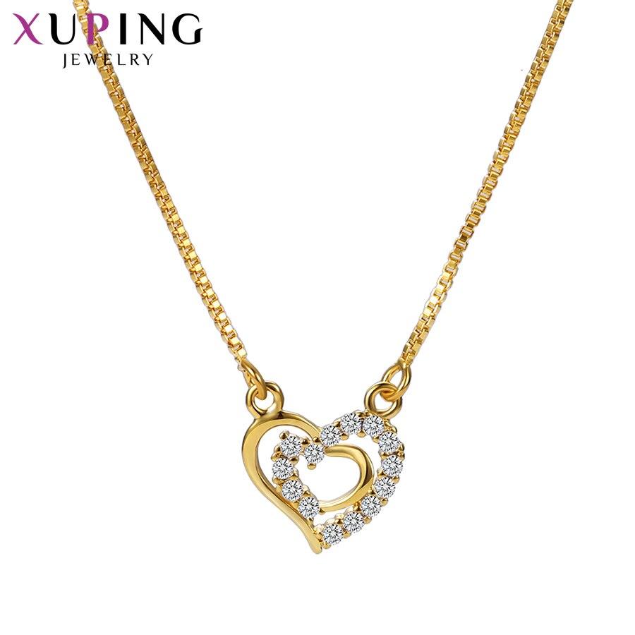 11,11 сделок Xuping мода элегантный сердце Форма Цепочки и ожерелья с Синтетические ювелирные изделия CZ для Для женщин Рождество подарок M53-40065