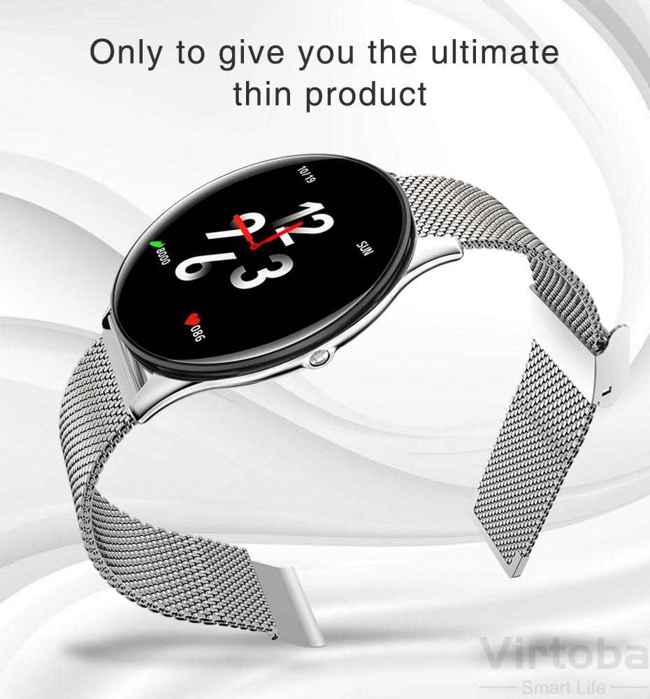 Virtoba CN58 Smart Watch 1.3'' Toughened Glass Touch Screen Smartwatch Man Women Blood Pressure IP68 Waterproof Fitness Tracker PK Q8 Q9 10