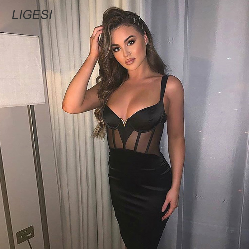 <font><b>Black</b></font> Mesh Patchwork Hollow Out <font><b>Bodycon</b></font> <font><b>Dress</b></font> <font><b>Summer</b></font> <font><b>2019</b></font> Women Backless <font><b>Sexy</b></font> V-Neck <font><b>Dresses</b></font> Party Club Vestidos Robes image