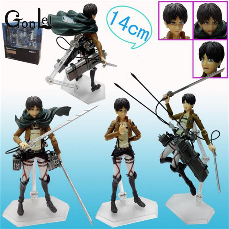 GonLeI Attack on Titan Eren Jaeger Anime Figure Figma Brinquedos 207 Juguetes 6 PVC Action Figure Collectible Model Toys IN BOX
