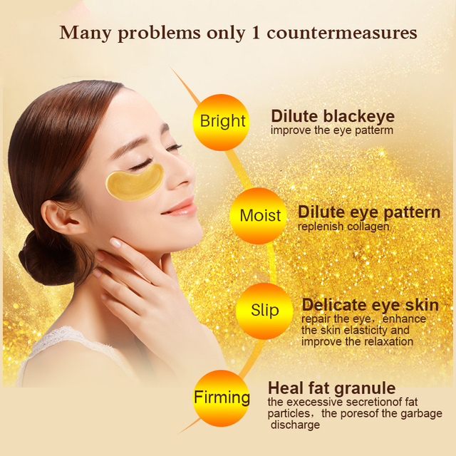 10pcs=5packs Gold Crystal Collagen Eye Mask Eye Patches Eye Mask For Face Care Dark Circles Remove Gel Mask for the Eyes Ageless 2