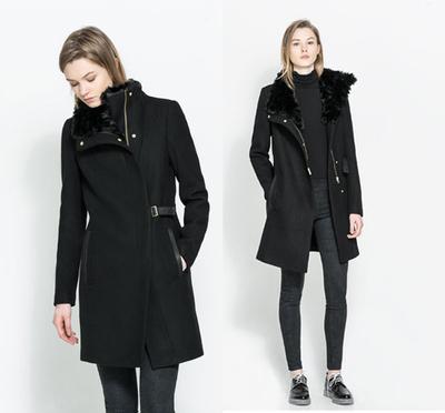 2017 nova espanha ZA genuína Original trf cachecol gola de pele detalhes em couro com cinto casaco de lã mulheres Wool & Blends 1255/009