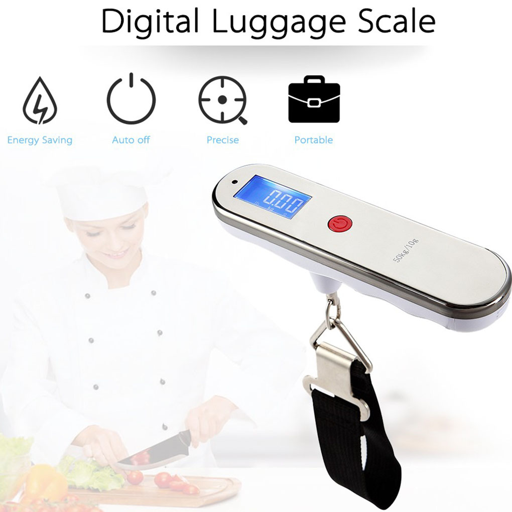 Portable 50kg x 10g Digital Belt Scale LCD Display Luggage Hanging Scale Electronic Fishing Weight Steelyard portable 1 3 8 led 0 12w 48lm digital luggage scale black 2 x aaa 10g 50kg