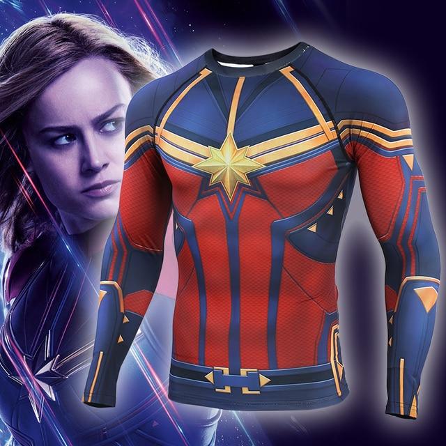 Captain Marvel 2019 nowa koszulka kompresyjna 3D koszulki z nadrukiem męska koszulka kompresyjna Cosplay szybkie suszenie ubrań dla siłowni t shirty