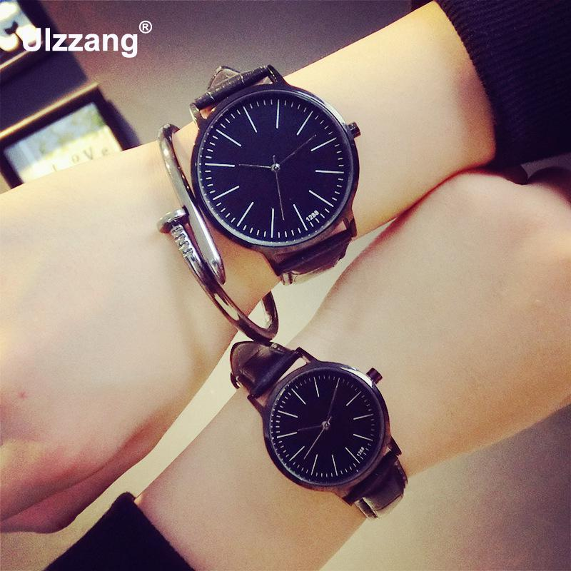 2018 Unisex Leather Strap Watches Men Luxury Brand Men Watch For Lovers Black White Lady Quartz Women Dress Watch