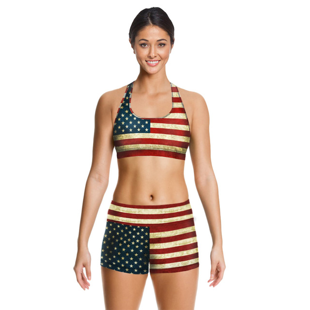 1adf29057b79 2017 New Women sexy 2 piece Swimwear Vintage Bikini set 3D digital star and  stripe USA flag Tankini sport swimsuit bathing suit