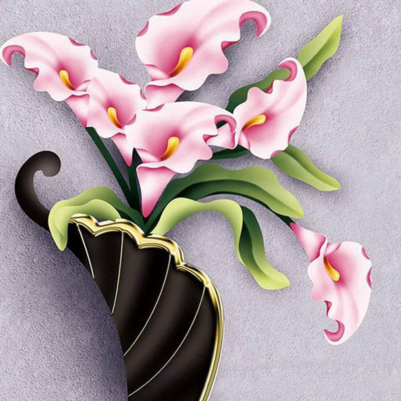 3 Designs Optional Diamond Embroidery Flowers In A Vase Euopean And