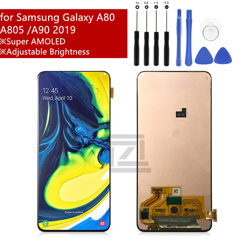 Super AMOLED For Samsung galaxy A80 lcd Display Touch Screen Digitizer Assembly A90 A805 SM-A805F/DS For Samsung A90 lcdSuper AMOLED For Samsung galaxy A80 lcd Display Touch Screen Digitizer Assembly A90 A805 SM-A805F/DS For Samsung A90 lcd