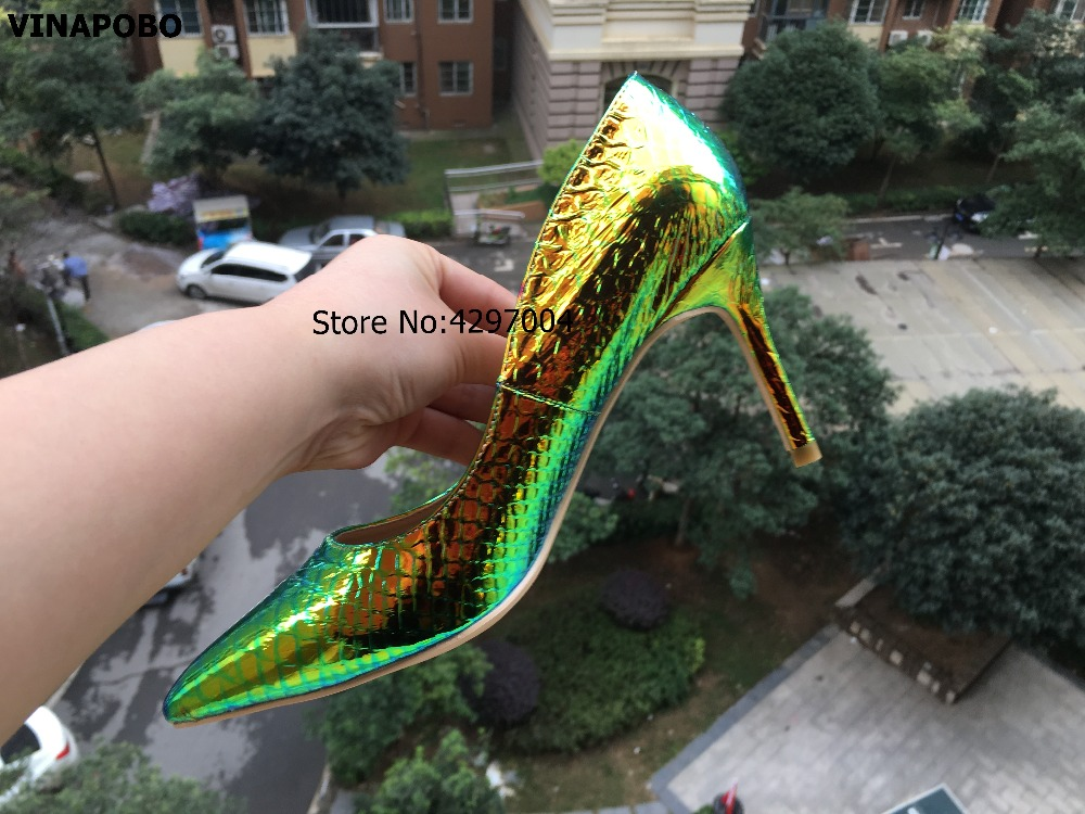 vinapobo Colorful Snake print pointed toe Stiletto heels prom party sexy wedding shoes woman big size