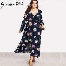 Simplee Plus Long Sleeve Women Dress Plus Size Beach Vintage Maxi Dresses  Boho Casual V Neck Split Plus Size Dress XXL XXXL d566fdae173b