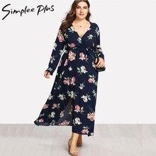 Simplee Plus Long Sleeve Women Dress Plus Size Beach Vintage Maxi Dresses Boho Casual V Neck Split Plus Size Dress XXL XXXL