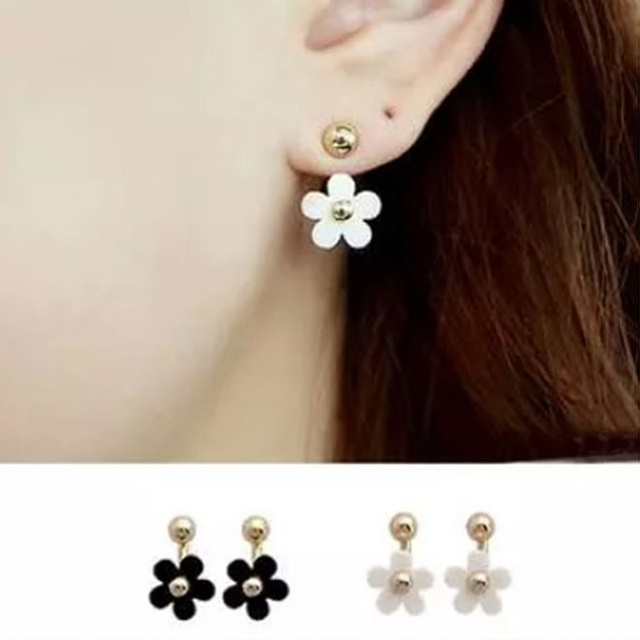 Women S Trendy Stud Earrings Fashion Gold Color Earring With Pearl Double Use Flower Zinc Alloy