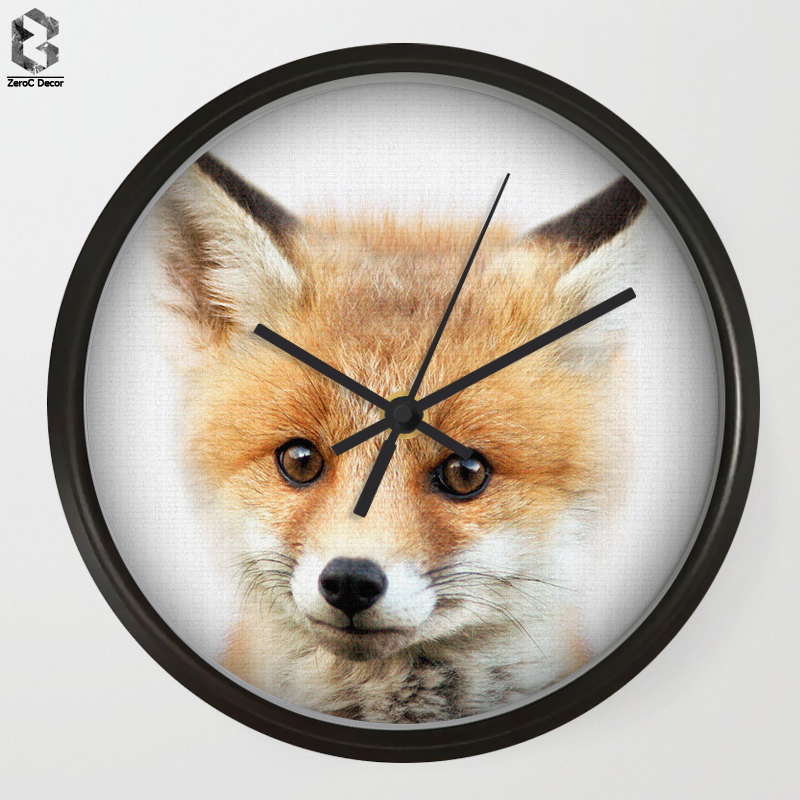 Chic Art Wall Clock Fox For Kids Room Wall Decor, Table Decorative Mute Quartz Clocks No ...