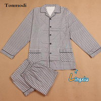 Men Sleep Nightshirt For Pajamas Autumn long sleeve knitted cotton sleepwear Plus the size Pajama Set Can wear 150KG