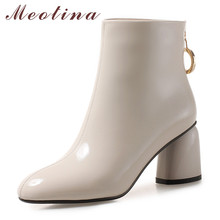 Meotina Winter Ankle Boots Women Patent Leather Block High Heels Short Boots Crystal Zipper Shoes Ladies Autumn Red Big Size 43 цена