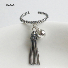 XIAGAO 925 Sterling Silver Open Ring For Women With Long Tassel Retro Style Do The Old Sliver Rings Bijoux Femme CNR021