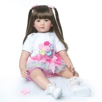 Высокое качество 60 см Большой размер reborn Малыш принцесса силиконовый винил очаровательные реалистичные детские Bonecas девочка bebe Кукла reborn