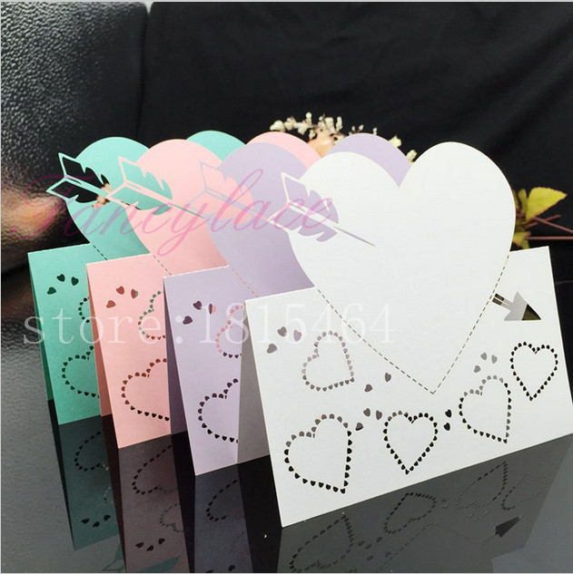 50pcs Laser Cut Stone Mandrel Place Name Cards Paper Wine Glass Cup Table Message Card Wedding Favors Party Decoration