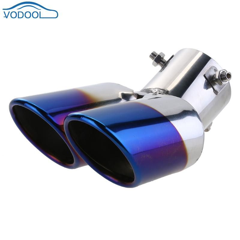 VODOOL Stainless Steel Automobile Rear Dual Exhaust Pipe Car Rear Tail Muffler Tip Throat Liner Universal Auto Tail Pipe