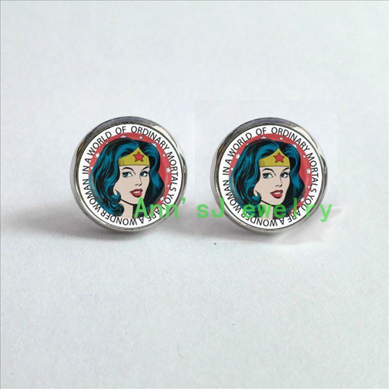 HZ4-00353 1pair Wonder stud earrings Woman Earrings jewelry glass ear nail Cabochon Earrings