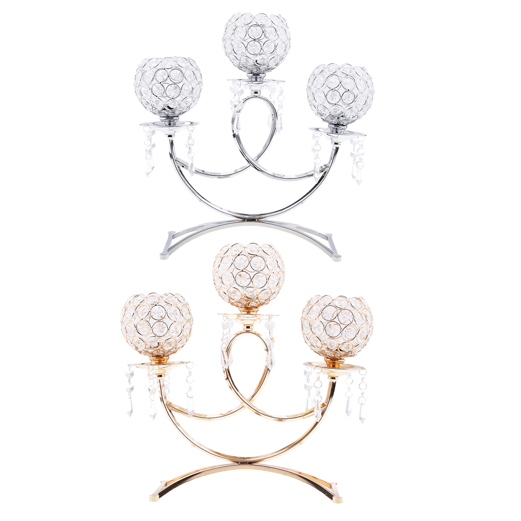 3 Bowl European Style Candle Holder Candelabra Table Centerpiece Wedding Party Home Decor Silver Gold