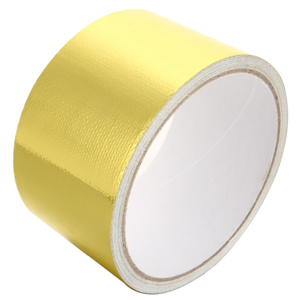 1 Roll 5M Fiberglass Car Motorcycle Heat Shield Wrap Tape Adhesive Reflective Gold High Temperature Resistant