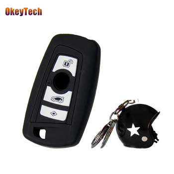 OkeyTech Silicone Car Key Cover Case For BMW 1 2 3 5 7 Series F10 F20 F30 335 328 535 650 3 Buttons & Keyring Keychain for BMW image