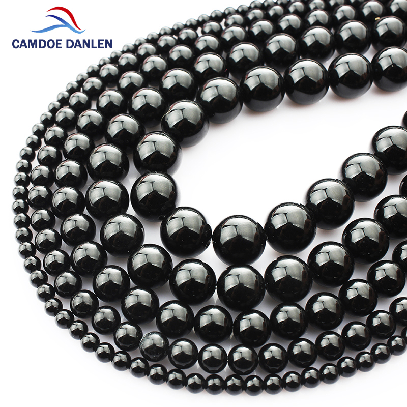 CAMDOE DANLE Natural Gem Stone Black Tourmaline Round Beads 6 8 10 12 14MM Balls DIY Charms Beads For Jewelry Making Accessories
