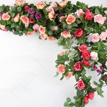 Artificial Rose Flower Vines Wedding Decor Rattan String Garden Hanging Garland